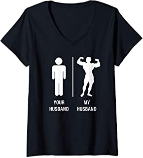 Womens Your Husband My Hubby Funny Sexy Bodybuilder V-Neck T-Shirt