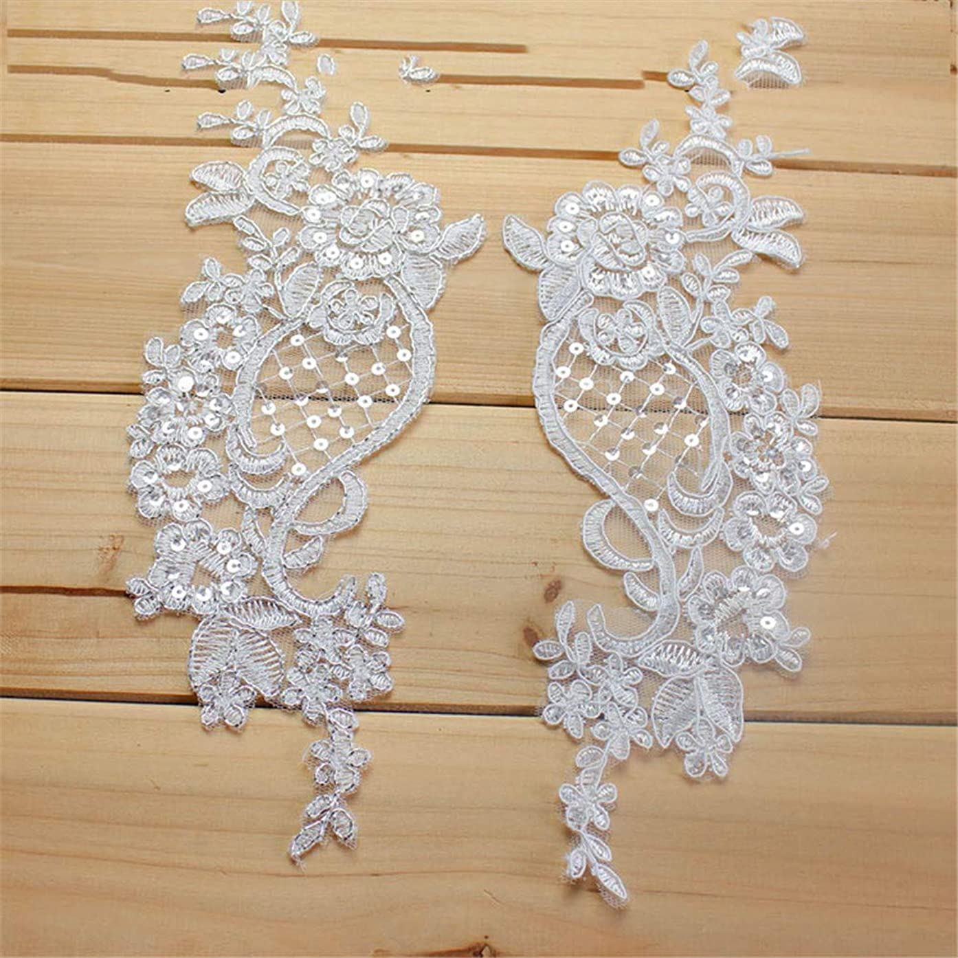 Sewing on Lace Applique-2 Piece Sequin Lace Applique Beaded Lace Patches Trim for DIY Bridal Wedding Dress Bridal Headdress