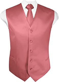 Mens Solid Tuxedo Vest Necktie and Handkerchief Set(30 Colors, XS-4XL)