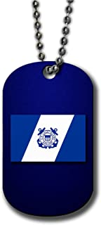 ExpressItBest Aluminum Dog Tag Necklace and Key Ring - US Coast Guard, Auxiliary Flag