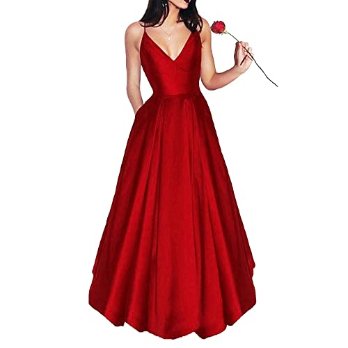 aaa878ff04 Bonnie Shop Women s Elegant Prom Dresses 2018 Long Short Spaghetti Straps  Satin Evening Party Dress with