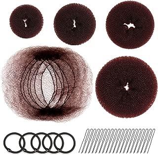 Hair Donut Bun Maker, FANDAMEI Hair Bun Shaper Set with 20 pcs Invisible Hair Nets for Bun, 4pcs Donut Bun Maker, 5 pcs Hair Elastic Bands, 20 pcs Hair Bobby Pins