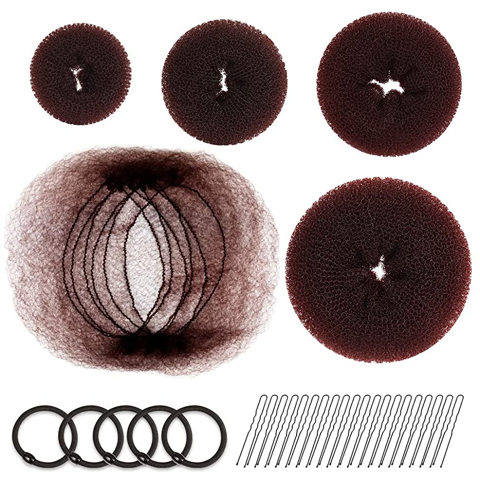 Hair Donut Bun Maker, FANDAMEI Girls Hair Styling kit with 20 Pieces Invisible Hair Nets for Bun, 4pcs Donut Bun Maker, 5 pieces Hair Elastic Bands, 20 pieces Hair Bobby Pin