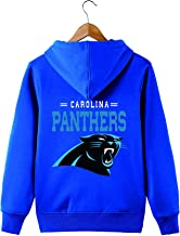 Men's Long Sleeve Hooded Letters Print Carolina Panthers Football Team Solid Color Zipper Hoodies
