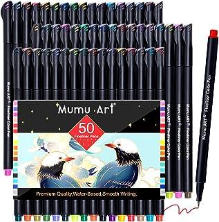 أقلام تخطيط مجلة تحتوي على 50 لونًا، أقلام تلوين ذات نقاط دقيقة أقلام رسم مسامية وقلم رفيع للكتابة على دفتر الملاحظات والت...