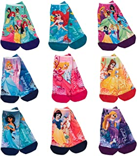 Royal Bermuda 9 Pairs Disney Princess Socks, Quarter Socks Assorted Characters