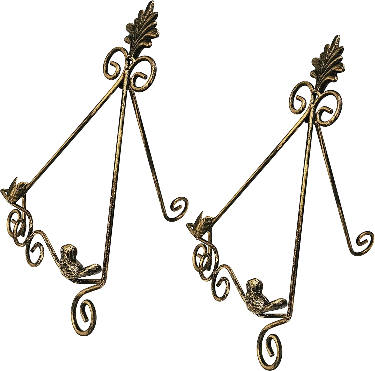 SHIEYOON Plate Picture Stand for Display Metal Wire Easel Book Photo Frame Platter Art Plaque Display Stands Holder Set of 2(Large - 13.8