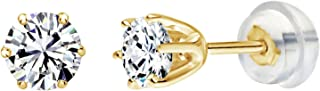 Solstice 14K White or Yellow Gold 6-Prong Round Stud Earrings Made with Swarovski Zirconia