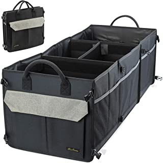Washable Car Trunk Organizer with 16 Pockets - 4 COMPARTMENTS Car Truck Cargo Organizer with Non-slip Bottom and Stripes, Heavy Duty Collapsible Cargo Storage for Suv, Trunk, Cargo - Khaki