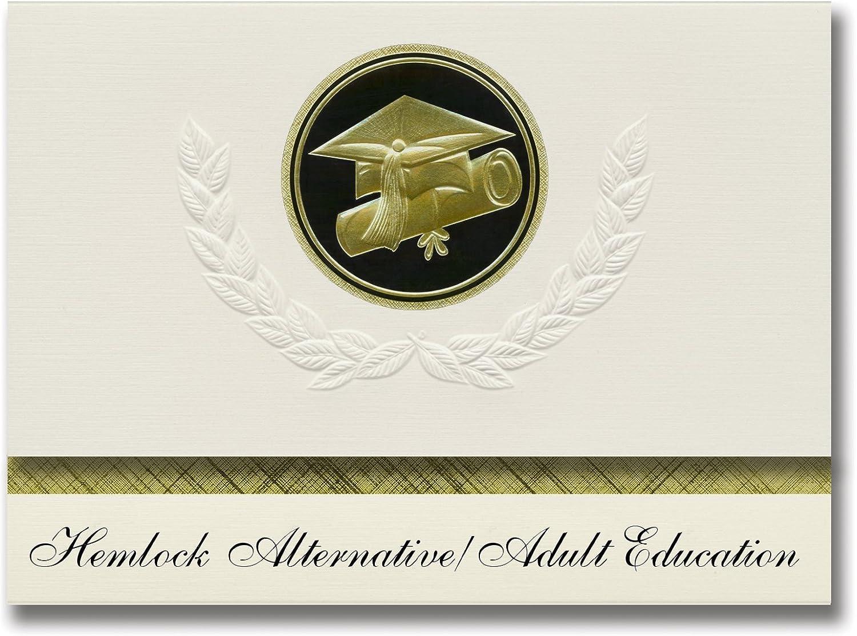 Signature-Announcements Hemlock-Alternative Erwachsenenbildung (Hemlock, MI) Abschlussankündigungen, Präsidential-Elite-Packung 25 Kappen & Diplom-Siegel. Schwarz & Gold. B079PNDDTC    | Komfort