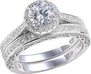 Newshe خواتم زفاف للنساء خاتم الخطوبة 925 الفضة الاسترليني 2.4Ct جولة أبيض AAA Cz حجم 5-12