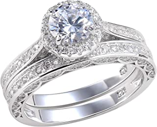 Newshe Wedding Rings for Women Engagement Ring Set 925 Sterling Silver 2.4Ct Round White..