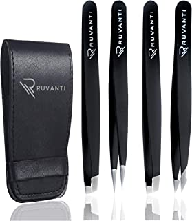 Ruvanti-4 Piece Professional Stainless Steel Tweezers Set - Eyebrow Tweezers, Slant tip, Pointed & Straight Best Precision Tweezers for Facial & Ingrown Hairs, Splinter & Hair Removal Tweezer (Black)