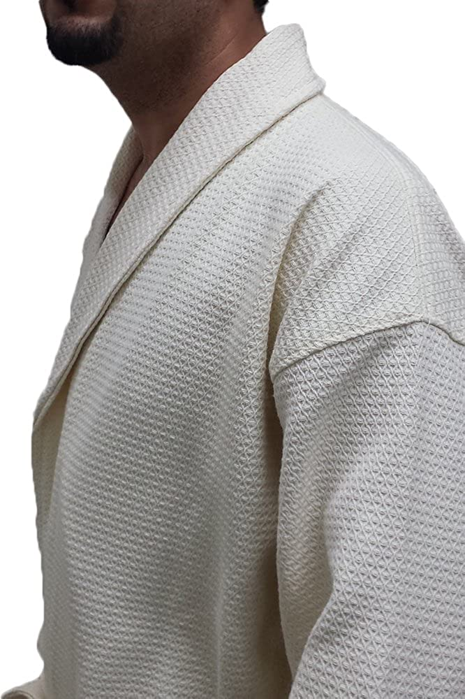 Waffle Men's Robe with Diamond Shawl Collar Waffle Spa Cover up