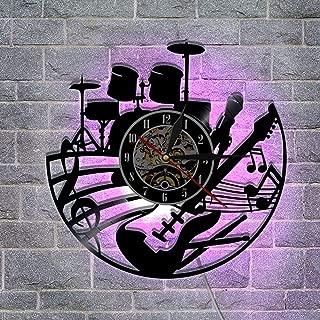 ビンテージビニールレコード壁掛け時計、 アートナイトライトクロック リモコン リビングルームの寝室12 ''の壁の装飾,A