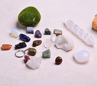 JIC Gem Healing Crystals Kit (19pcs Set), 7 Raw Chakra Stones, 7 Tumbled Gemstones, Clear Quartz Cluster, Selenite Palm St...