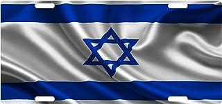 Fast Service Designs Israel Flag Custom License Plate David Jew Star Emblem Wave Version