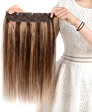 Winsky Clip in Real Hair Extensions Human Hair 5clips 50g – One Piece Soft Straight 3/4 Full Head Hair Pieces for Women (14inch, Medium Brown to Light Brown #4-27 Color)