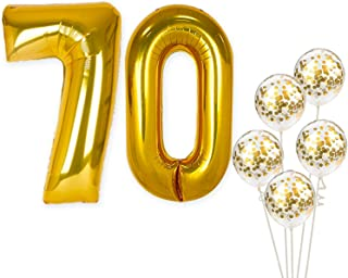 Number 70 and Gold Confetti Balloons – Large, Pack of 7 | Gold Confetti Latex Balloons Party Decorations Backdrop | Great for Party Supplies Kit for 70th Birthday, Anniversary, Home Office Décor
