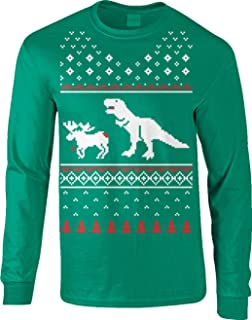 T-Rex Attack Moose Long Sleeve Ugly Christmas Sweater Funny Shirt