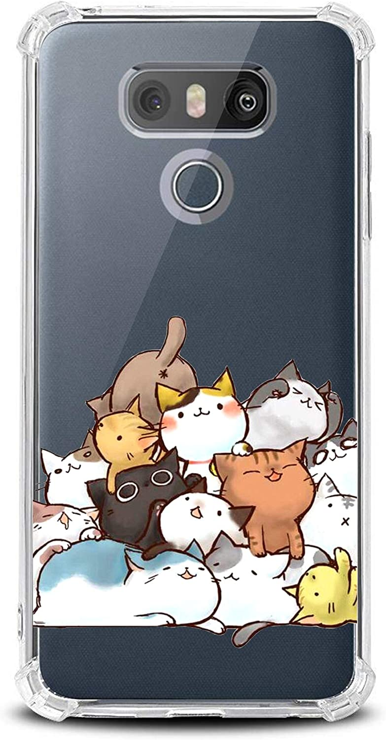 KIOMY Case for Girls N Women Clear with Cat Design Shockproof Bumper Protective Cell Phone Back Cover for LG G6, LG G6 Plus 2017 Flexible Slim Fit Soft Rubber Gel Funny Cute Kitten Young Girly Case