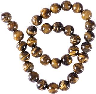 Healifty Perlas de ojo de tigre, piedras preciosas naturales, redondas, 10 mm, 38 unidades