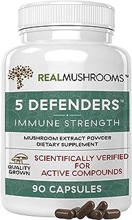 5 Defenders Organic Mushroom Extract Blend by Real Mushrooms - 90 Capsules - Chaga, Reishi, Shiitake, Maitake and Turkey T...