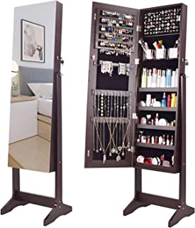 AOOU Jewelry Organizer Jewelry Armoire,Full Length Mirror Lockable Jewelry Cabinet, with Large Storage Capacity, 3 Angles Adjustable, Brown