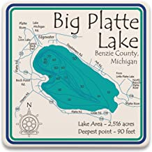 Davern Lake in ONTARIO, CN (1666 LA) - Square Trivet 7 x 7 IN - Nautical chart and topographic depth map.