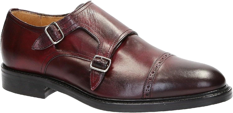 Handgjorda Dubbel Monk Strap skor skor skor in Burgundy läder  känt märke