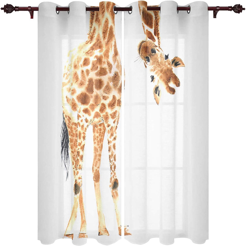 Fandim Fly Grommet Window Curtain Animal Watercolor online shop Wild Max 82% OFF Giraffe