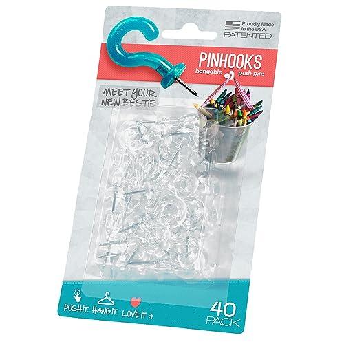 Pinhooks Value 40-Pack Klear Kindness Push Pin Wall Hooks, Transparent