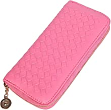 Vivoice Woven Leather Women Wallet Clutch Purse Organizer Wallet Bag with Zipper for Credit Card Cash