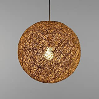 Modern Lattice Wicker Rattan Globe Ball Style Ceiling Pendant Light Lampshade Home Dining Decoration Lamps 23 cm (Cream)