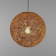 Modern Lattice Wicker Rattan Globe Ball Style Ceiling Pendant Light Lampshade Home Dining Decoration Lamps 23 cm (Cream)
