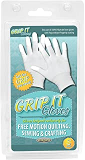 Sullivans 48668 Grip Gloves for Free Motion Quilting, Small, White