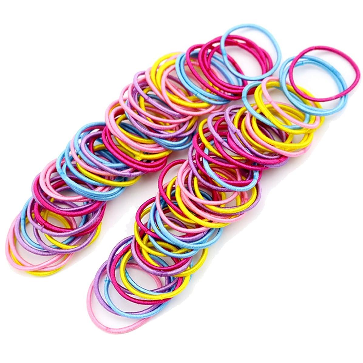 宣言上陸棚Freedi 100個ゴムロープバンドヘアタイポニーテールホルダーベビー女の子アクセサリー