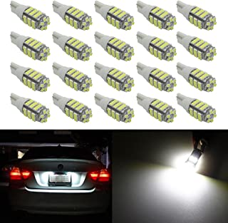 20pcs Super Bright 194 168 175 2825 W5W 158 161 T10 Wedge SMD 6000K LED Bulbs For Interior Reading Dome Map Cargo Trunk Door Doorstep Courtesy License Plate Side marker Glove box lights