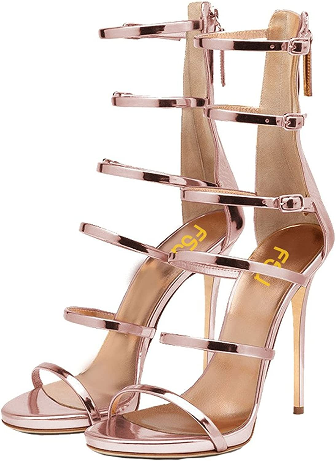 FSJ Women Sexy Strappy Gladiator Wedding Sandals High Heel Stiletto shoes for Summer Size 4-15 US