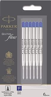 Parker QUINKflow Ballpoint Pen Ink Refills, Fine Tip, Blue, 6 Count Value Pack (2025157)