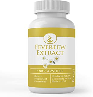 Feverfew Extract (100 Capsules) Natural, Herbal & Cruelty-Free, 100% Pure & Potent, Non-GMO & Gluten-Free Extract (570 mg ...