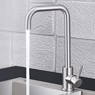 Kitchen Faucet NO.16 LOVER Commercial Utility Stainless Steel Single Handle Kitchen Sink Faucets Brushed Nickel Modern Hot And Cold For kitchen Sink Faucet And Bar/RV Kitchen Faucets