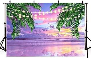 MEHOFOTO 夏 トロピカル パープル 海 ビーチ ブライダル シャワー 背景 写真 サンセット ハワイアン シーサイド パーム グリッター ライト 背景 結婚式 誕生日パーティー バナー 写真 スタジオ 小道具 7x5フィート