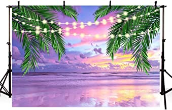 MEHOFOTO Summer Tropical Purple Sea Beach Bridal Shower Backdrop Photography Sunset Hawaiian Seaside Palm Glitter Lights Background for Wedding Birthday Party Banner Photo Studio Props 7x5ft