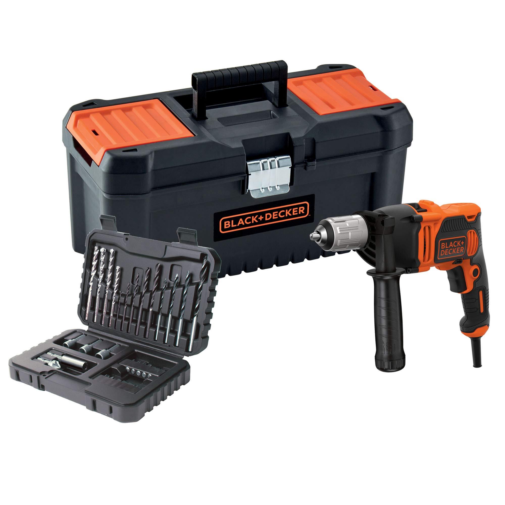 BLACK+DECKER BEH850KA32-QS Taladro percutor con cable 850W con set de 32 accesorios y caja de herramientas 16