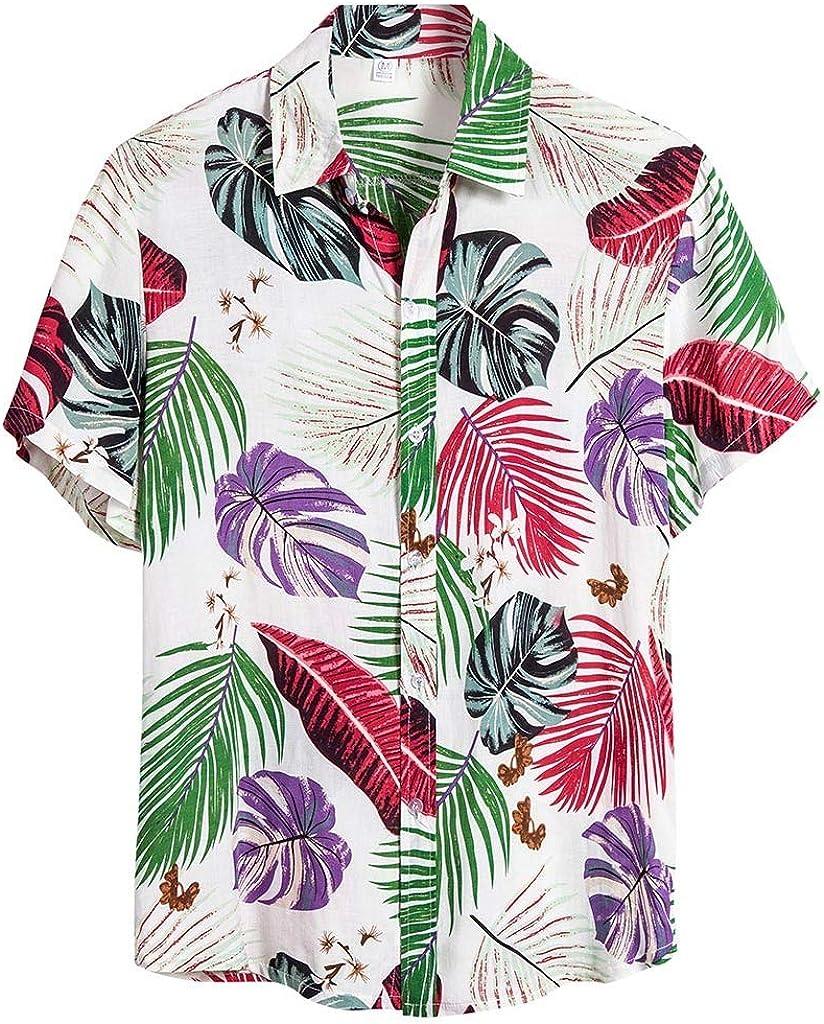 ZSBAYU Men's Hawaiian Short Sleeve Shirt Aloha Flower Print Casual Button Down Beach Shirts Party Flower Blouse