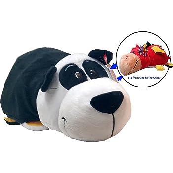 Flip-A-Tote Combo Jay at Play FlipaZoo FlipQuin Gu Gu Panda // Mabli Monkey Plush Toy Pillow with Reversible Sequins