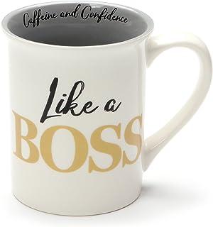 Enesco Our Name Is Mud Like a Boss Stoneware Mug, 16 oz, Gold