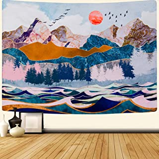SENYYI Mountain and Sunset Tapestry Wall Hanging Forest Trees Tapestry Wave Art Tapestry Nature Landscape Home Decor for R...