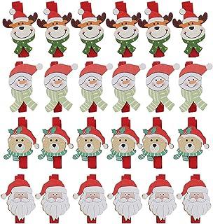 24 Pièces Épingles à Linge de Noël Mini Clips Photo Père Noël Elk Bonhomme de neige Mini Pinces à Linge Coloré en Bois pou...